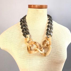 Adia Kibur chunky link acrylic statement necklace